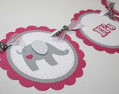 Elephant Baby Shower Banner - It's a Girl banner, elephant with heart, pink and grey