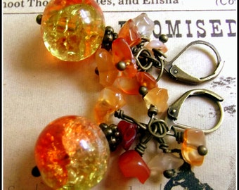 Dragon's Eyes, Orange & Yellow Crackle Glass, Carnelian and Glass Earrings. Game of Thrones Crackle Glass Earrings