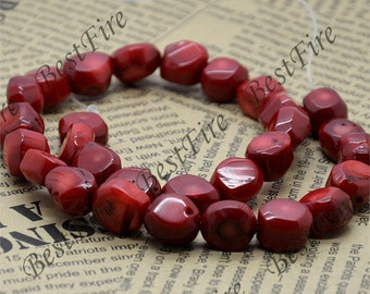 Strand Faceted Nugget red Coral Beads,Free nugget  Red Coral Beads Full One Strand 16inch