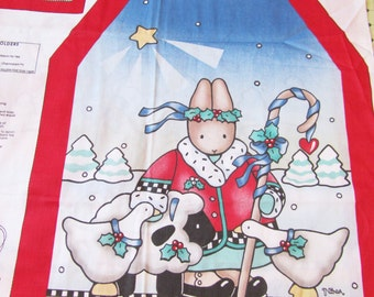 DAISY KINGDOM APRONS Mommy and Me Cut and Sew Fabric Panel Noel Bunny Sheep Geese
