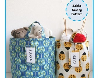 PDF Fabric Bucket with Hangtag Sewing Pattern - Zakka - Instant Download
