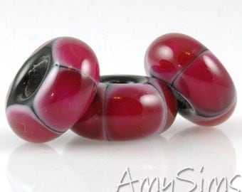 European Charm Bead Big Hole Lampwork Glass Bead Hot Pink Dots