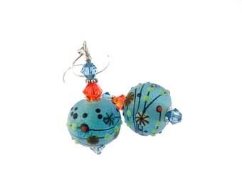 Sea Blue Lampwork Earrings, Glass Bead Earrings, Dangle Earrings, Lampwork Jewelry, Beadwork Earrings, Glass Bead Jewelry