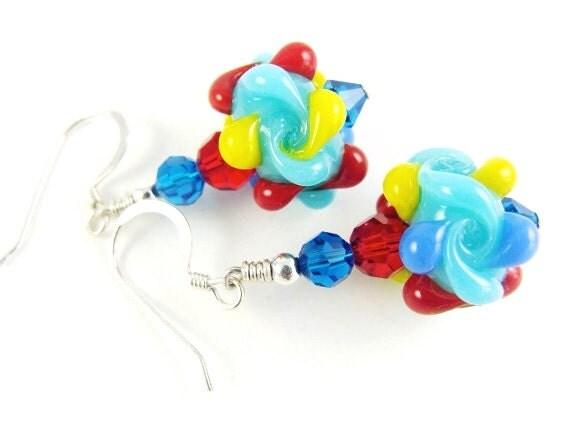 Turquoise Glass Bead Earrings, Autism Earrings, Lampwork Earrings, Red Yellow Blue Earrings, Lampwork Autism Jewelry, Beadwork Earrings