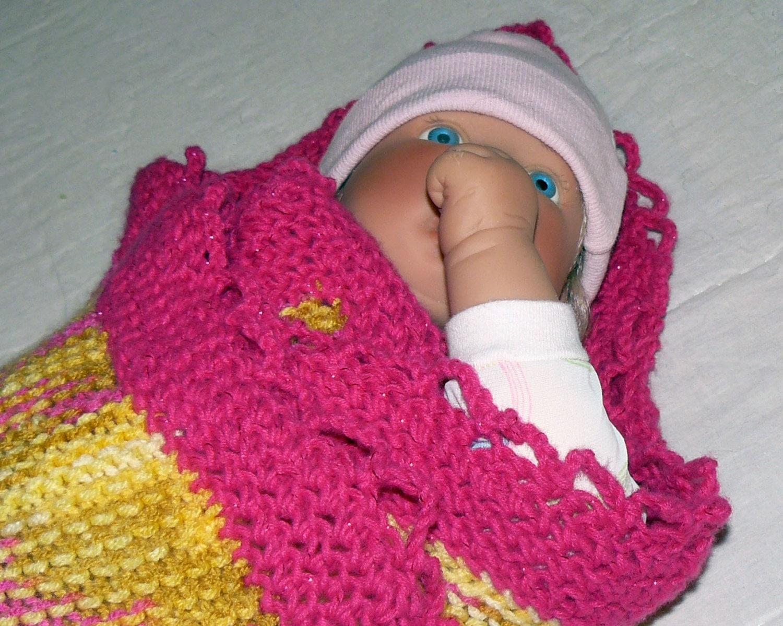 Crochet Baby Blanket Patterns Variegated Yarn : Hand Knit Baby Blanket Yellow Variegated with by ...