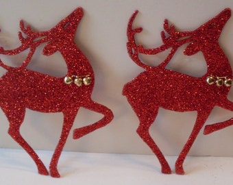 Set Of 2 Primitive Red Glittered Hand Painted  Reindeer  Cake Toppers Decorations LJO Collection  We Ship Internationally