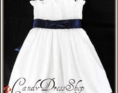 White dress - White cotton fabric dress for 2-3 years (Available in size 6- 7 Years ) Girls white dress - Navy blue sash - Ready to ship