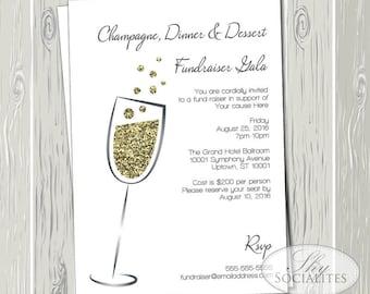 Gala invitation etsy champagne gold glitter invitation gala fundraiser black tie charity event stopboris Choice Image