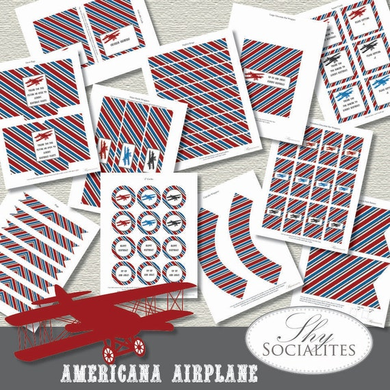 Printable Vintage Airplane Party Collection Diy By: Items Similar To Vintage Airplane Party Kit
