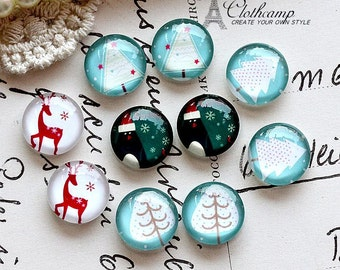 Sets of 10pcs 12mm Handmade Photo Mix Glass Cabochon -Image Glass Cabochon-(Christmas )-(HPGC-MIXSS-75)