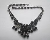 Vintage Juliana D & E Book Piece Black White Rhinestone Faceted Dangles Necklace
