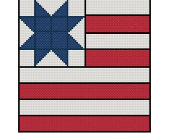 Flag Cross Stitch Pattern in Quilt Style - PDF File - Instant Download - Patriotic Cross Stitch, X Stitch Pattern, 4th of July Cross Stitch