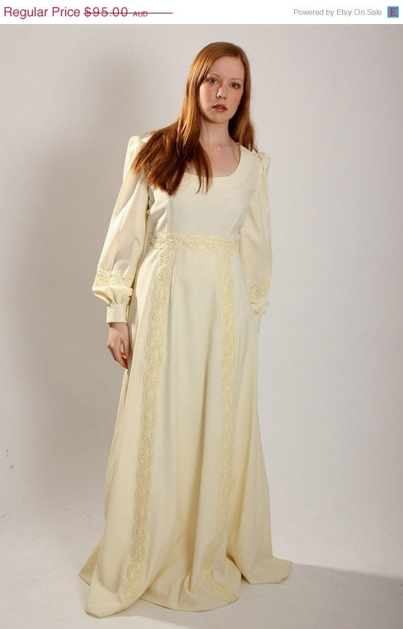 Vintage 1970s ecru cream wedding dress by vintagetwists on for 1970s wedding dresses for sale