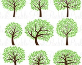 Tree Silhouette SVGs 2, Tree SVG Cutting Templates - Commercial and Personal Use