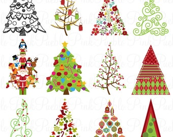 Christmas Tree Clipart Clip Art, Christmas Holiday Decor Clipart Clip Art Vector - Commercial and Personal