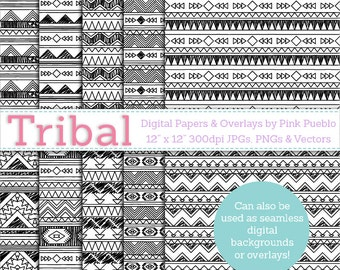 Black and White Tribal Digital Paper Pack, Tribal Seamless Background Patterns or Photoshop Overlay - Commercial and Personal Use