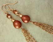 Rose Gold Terra Cotta Pearl Earrings Shoulder Dusters Tassels