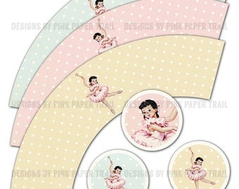 Ballerina Themed Party Circles for Cupcake Wrap and Topper Template - Print your own
