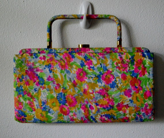 Vintage Handbag 1960's Floral Clutch with Fold In Handle, Comb and Mirror Pop of Color
