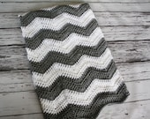 READY to SHIP - Gray and White Chevron Baby Blanket, Chevron Baby Blanket, Crochet Chevron Striped Blanket - by JoJo's Bootique