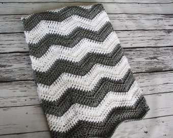Baby Chevron Blanket - Nursery Decor - Nursery Bedding - READY to SHIP  - Baby Blanket - Crochet Chevron Baby Blanket - by JoJo's Bootique