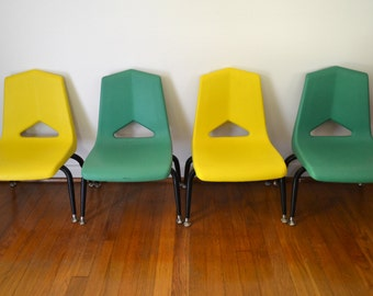 Molded Plastic Green and Yellow Childrens Stacking Chairs