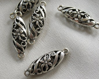 LAST PACKAGE 5pc - Antiqued Silver Flower Pattern Long Oval  Connector Links, 30mm x 10mm, 5 large links