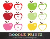 Apple Clipart Set - Apple Digital Images - PNG Graphics - Scrapbooking, Back to School, Teachers - Personal and Commercial Use