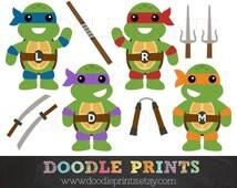 TMNT Ninja Turtles - Digital Clip Art Printable Images - Teenage Mutant Ninja Turtles Clipart Design - Ninja Weapons - Personal Use Only