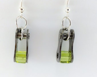 green bicycle jewelry recycled bike chain earrings, cycling earrings, biking jewelry, bicycle part jewelry, bicycle accessory
