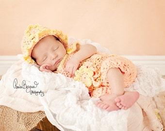 Baby Girl Romper and Hat, Newborn Romper and Hat, Crochet Baby Romper Set , Crochet Newborn Baby Photo Prop