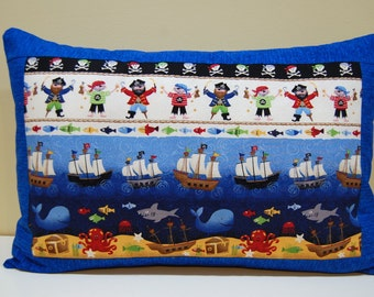 Pirate Pillow, Boys Room, Fish and Boat Pillow