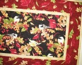 Autumn Table Runner Birds, Berries and Leaves, quilted, Fall