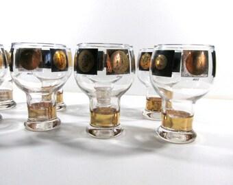 1950's Federal Glass Black & Gold 16 oz Beer Glassware