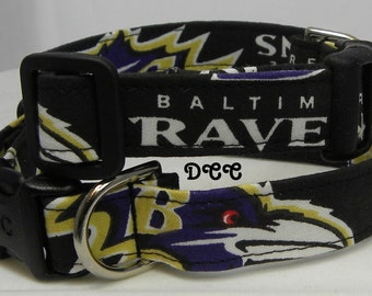 Dog Collar Baltimore Ravens  Football Sports Adjustable Dogs Collars D Ring Handmade Choose Size Accessory Accessories Pet Pets Basket Ball