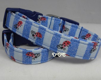 Dog Collar Lady Bugs on Stripes Blue On Blue Shades Stripes CHOOSE SIZE  Adjustable w D Ring Handmade Pet Pets Collars Accessories Pet Pets