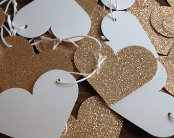 20 Gold Heart Gift Tags
