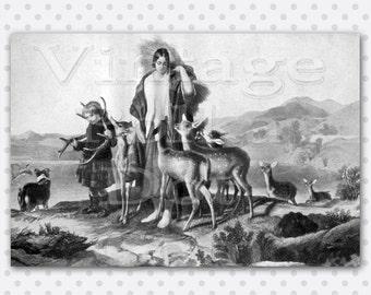 Vintage Clip Art Deer Herd Graphic Printable Digital Instant Download Deer Antlers Child Lady Gathering Hay