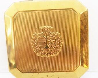 Antique vintage compact Richard Hudnut DuBarry gold brass rogue compact 1940s 40s Sale