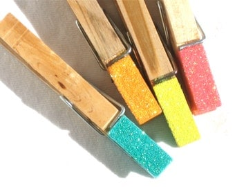 NEON GLITTER CLOTHESPINS hand painted wooden magnetic pegs