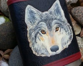 Hand-Tooled and Painted Wolf Flask/Wrap