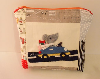 Mouse Zipper Pouch Zipper Bag Applique Bag