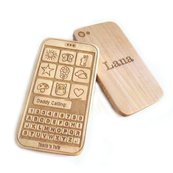 Baby toy teether phone toy iphone personalize wood teething