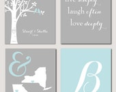"Wedding GIft Modern Newlywed Set - set of 4 Prints - Family Tree, Initial, Live Simply and State Map Print You choose colors four 11""x14""s"