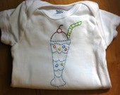 Hand Embroidered Ice Cream Soda Onsies