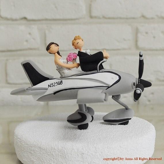 Airplane Pilot Wedding Cake Topper