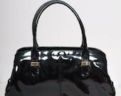 Vintage  Purse / Black Purse / Black Patent Leather  Purse Black Patent Leather Purse / Retro Rockabilly / 50s clutch / vintage black purse
