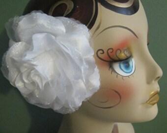 RETRO White  Rose Hair Flower clip - Weddings - Flamenco -