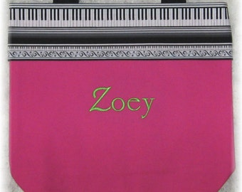 Piano personalized music lesson book bag treble clef keyboard childs HOT PINK canvas student birthday recital kids gift idea