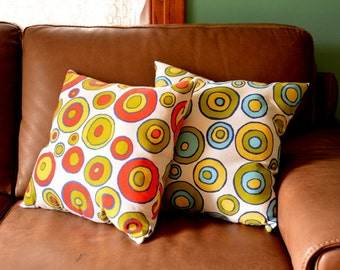 PILLOW-with filling- concentric circles - 18 by 18